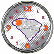 Clemson Tigers State of Mind Chrome Clock