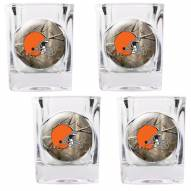 Cleveland Browns Open Field 4-Piece RealTree Square Shot Glass Set
