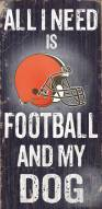 Cleveland Browns Football & Dog Wood Sign