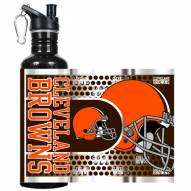 Cleveland Browns Hi-Def Black Stainless Steel Water Bottle