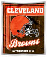 Cleveland Browns Old School Mink Sherpa Throw Blanket