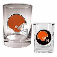 Cleveland Browns Rocks Glass & Shot Glass Set