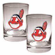 Cleveland Indians MLB 2-Piece 14 Oz. Rocks Glass Set