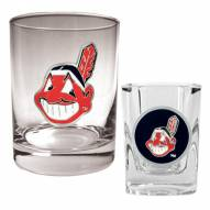 Cleveland Indians MLB 14 Oz Rocks Glass & Square Shot Glass 2-Piece Set