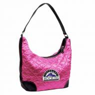 Colorado Rockies Pink MLB Quilted Hobo Handbag