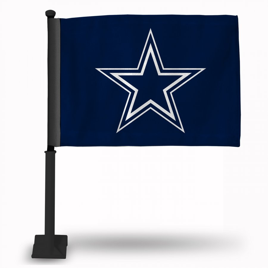 Dallas Cowboys Blue Car Flag with Black Pole