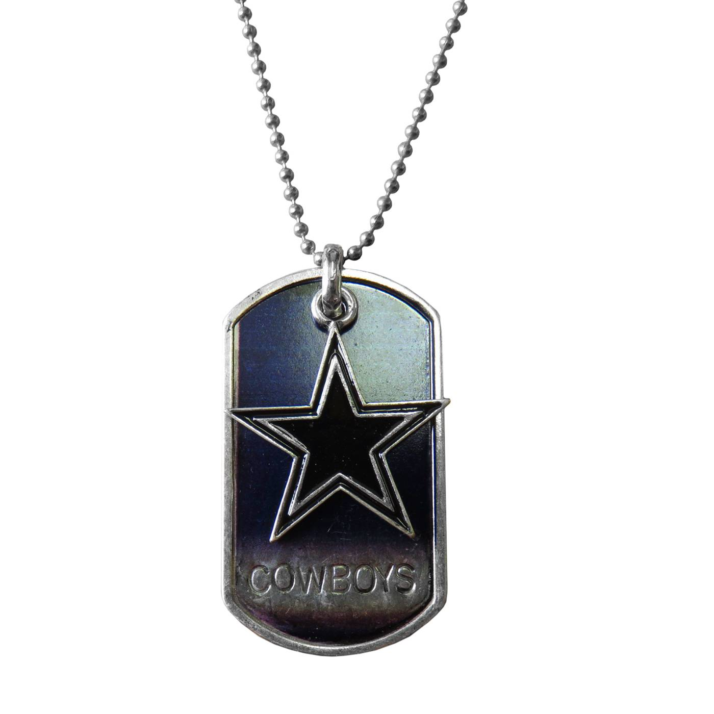 Dallas cowboys dog tag charm necklace show your team pride with the dallas cowboys dog tag charm necklace the dog tag style pendant hangs from a ball style chain and features your favorite aloadofball Gallery
