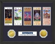 Dallas Cowboys Super Bowl Ticket Collection Framed