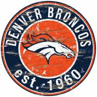 "Denver Broncos 24"""" Round Wood Sign"