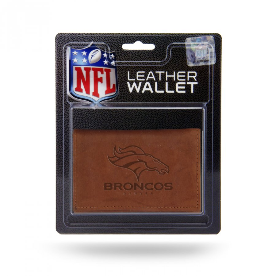 Denver Broncos Brown Leather Trifold Wallet