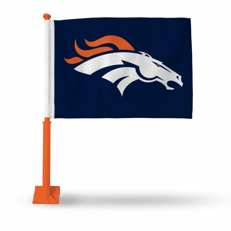 Denver Broncos Car Flag with Orange Pole