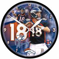 Denver Broncos Peyton Manning Round Chrome Wall Clock