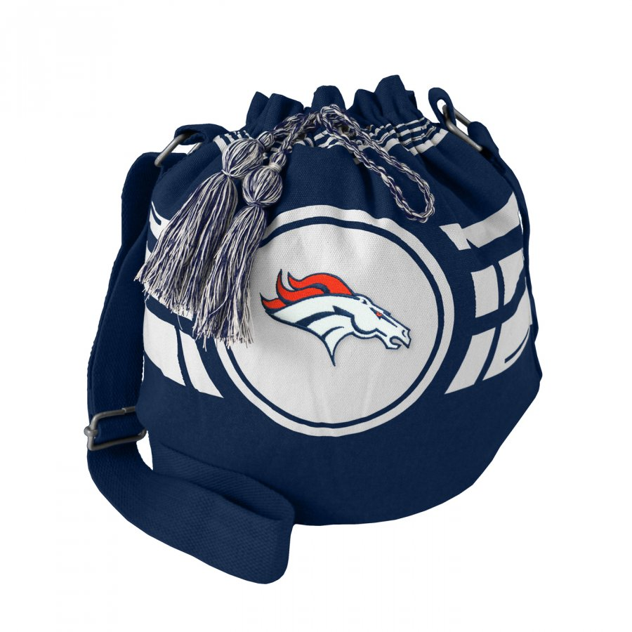 Denver Broncos Navy Ripple Drawstring Bucket Bag