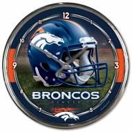 Denver Broncos Round Chrome Wall Clock