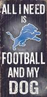 Detroit Lions Football & Dog Wood Sign