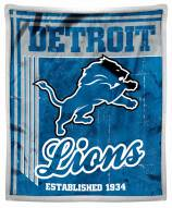Detroit Lions Old School Mink Sherpa Throw Blanket