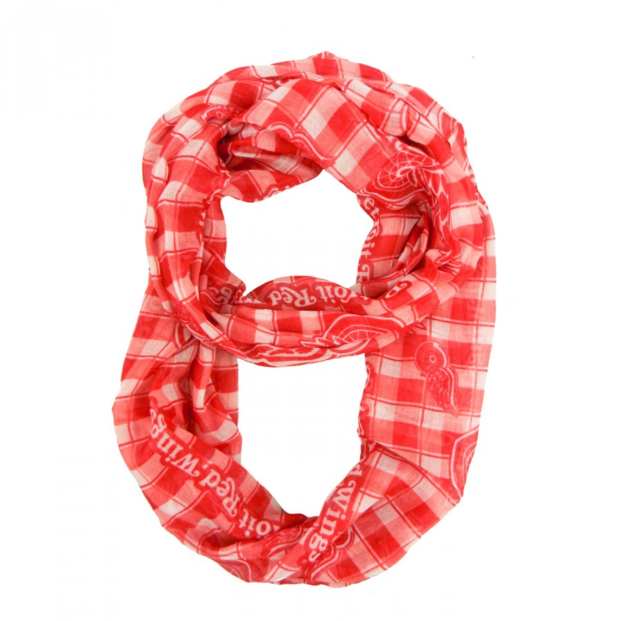 Detroit Red Wings Plaid Sheer Infinity Scarf
