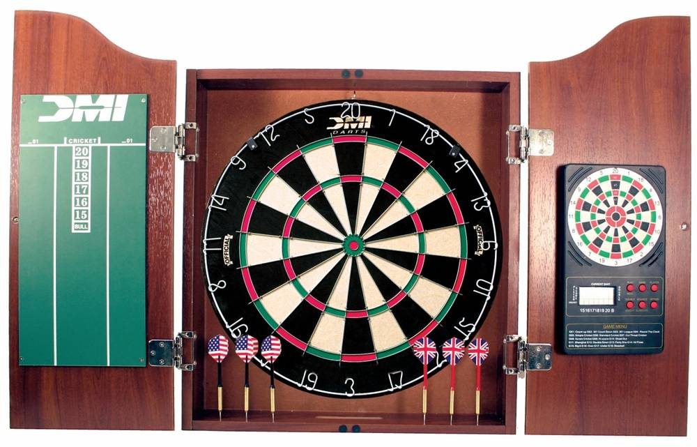 DMI Darts Cherry Dartboard Cabinet With Electronic Scorer Bristle ...
