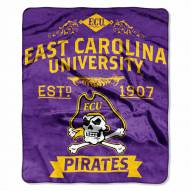 East Carolina Pirates Label Raschel Throw Blanket