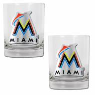 Florida Marlins MLB 2-Piece 14 Oz. Rocks Glass Set