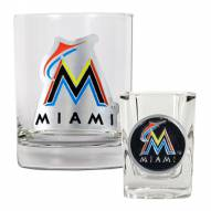 Florida Marlins MLB 14 Oz Rocks Glass & Square Shot Glass 2-Piece Set