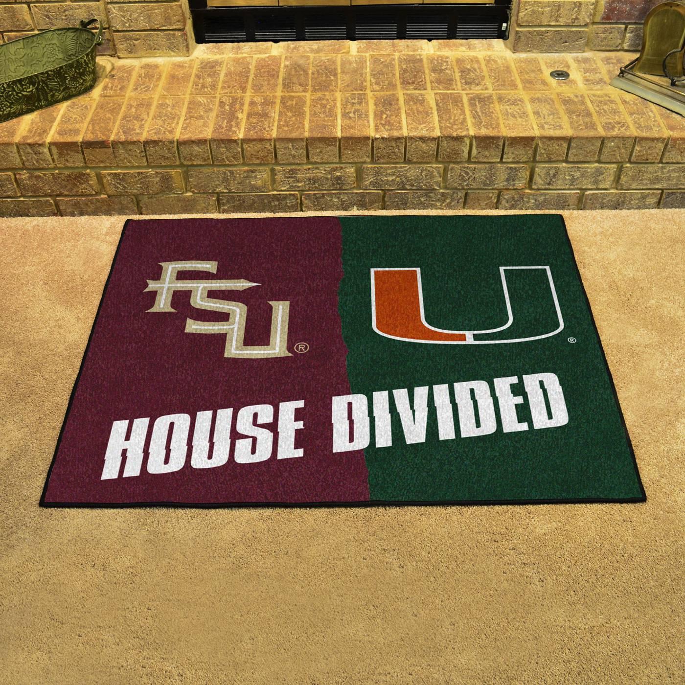 Florida State Seminoles Football Floor Mat: Florida State Seminoles/Miami Hurricanes House Divided Mat