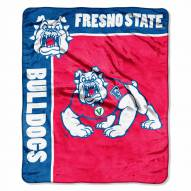 Fresno State Bulldogs Label Raschel Throw Blanket