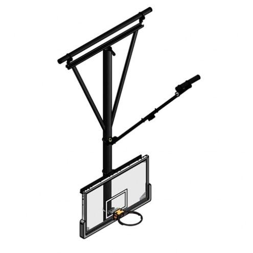 Gared Forward Fold / Front Braced Ceiling Suspended Basketball Backstop