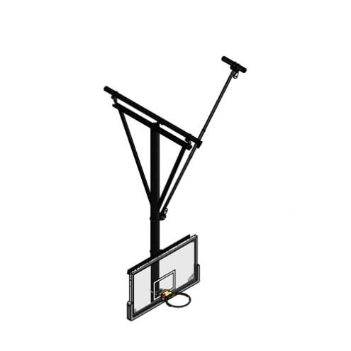 Gared Side Fold / Side Braced Ceiling Suspended Basketball Backstop