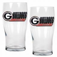 Georgia Bulldogs 20 oz. Pub Glass - Set of 2