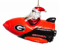 Georgia Bulldogs Rocket Santa Ornament