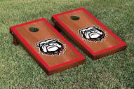 Georgia Bulldogs Rosewood Stained Border Cornhole Game Set