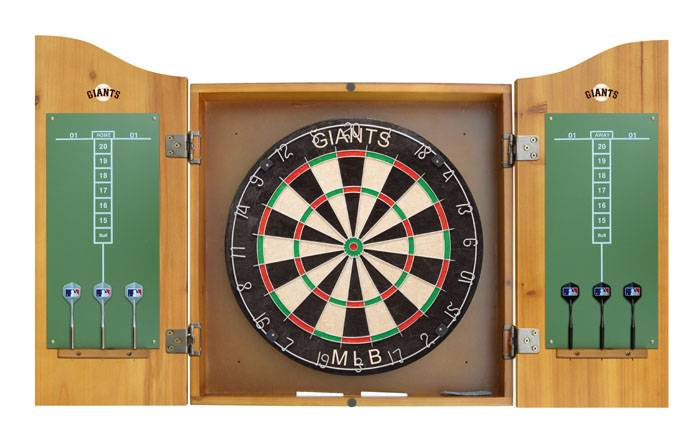 San francisco giants mlb complete dart board cabinet set for Kitchen cabinets lowes with sf giants wall art