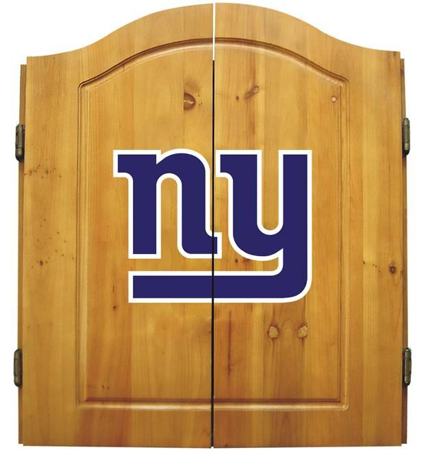 New York Giants NFL Complete Dart Board Cabinet Set (w/darts U0026 Flights)