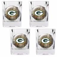 Green Bay Packers Open Field 4-Piece RealTree Square Shot Glass Set