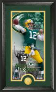 Green Bay Packers Aaron Rodgers Bronze Coin Panoramic Photo Mint