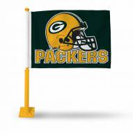 Green Bay Packers Car Flag with Gold Pole