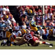 """Green Bay Packers Eddie Lacy Jumping over Players Signed 16"""" x 20"""" Photo"""