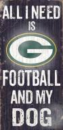 Green Bay Packers Football & Dog Wood Sign