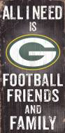 Green Bay Packers Football, Friends & Family Wood Sign