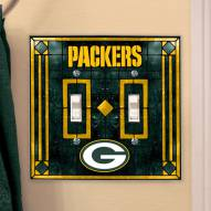 Green Bay Packers Glass Double Switch Plate Cover