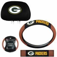 Green Bay Packers Steering Wheel & Headrest Cover Set