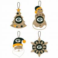 Green Bay Packers Vintage Burlap Ornaments
