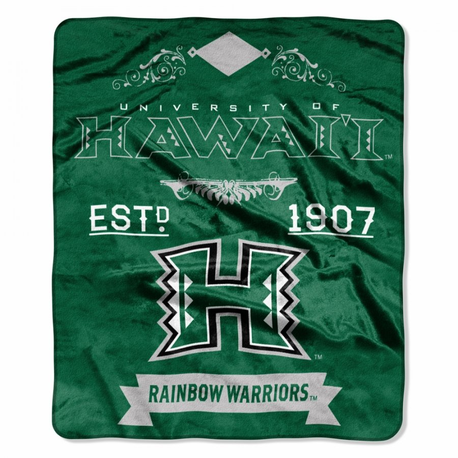 Hawaii Warriors Label Raschel Throw Blanket