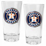 Houston Astros Baseball Sculpted Bottom Pint Glass Set