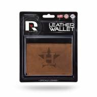 Houston Astros Brown Leather Trifold Wallet