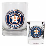 Houston Astros MLB 14 Oz Rocks Glass & Square Shot Glass 2-Piece Set