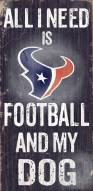 Houston Texans Football & Dog Wood Sign