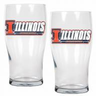 Illinois Fighting Illini 20 oz. Pub Glass - Set of 2