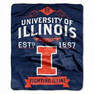 Illinois Fighting Illini Label Raschel Throw Blanket